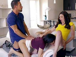 Babe, Bedroom, Brunette, Couch, Cumshot, Daddies, Dick, Doggystyle, FFM, Handjob,