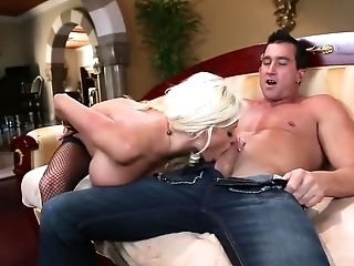 Big Tits, Blonde, Blowjob, Cumshot, Cunnilingus, Facial, Nikita Von James, Pornstar,