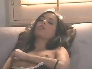 Brunette, Couch, Handjob, Masturbation, Pussy,