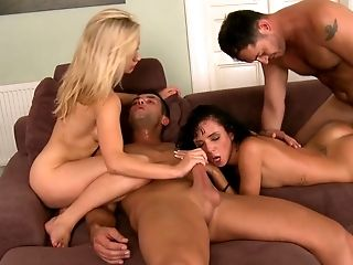 Ass, Bold, Boots, Couch, Cum, Cum On Ass, European, Foursome, From Behind, Group Sex,