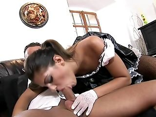 Big Cock, Couch, Couple, Fishnet, Hardcore, Leather, Long Hair, Maid, Stockings, Uniform,
