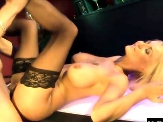 Bar, Blonde, Blowjob, Bra, Couple, Cum In Mouth, Cum Swallowing, Cumshot, Doggystyle, Fake Tits,