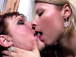 Blonde, Experienced, Granny, Lesbian, Licking, Mature,