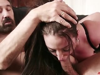 Angela White, Big Tits, Blowjob, Bra, Chubby, Couple, Cowgirl, Doggystyle, Experienced, Fake Tits,