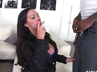 Ass Licking, Big Tits, Black, Blowjob, Bold, Brunette, Clamp, Close Up, Couple, Cowgirl,