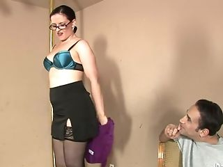Amateur, Backroom, Big Tits, Blonde, Caroline Pierce, Cute, Glasses, Handjob, HD, Interracial,