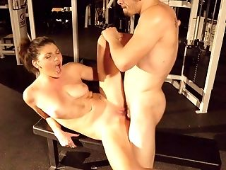 Ball Licking, Blowjob, Brunette, Clamp, Couple, Cowgirl, Fucking, Gym, Hardcore, Missionary,