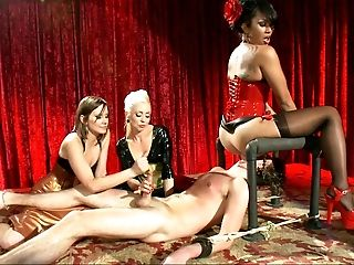 CFNM, Facesitting, Group Sex, Handjob, Lorelei Lee, Maitresse Madeline, MFF, Mistress, Stockings, Theater,