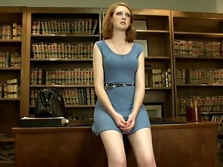American, Cute, Desk, Dress, Legs, Librarian, Masturbation, Redhead, Sex Toys, Solo,