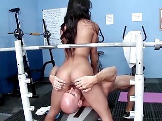 Ass, Big Tits, Blowjob, Brunette, Close Up, Coach, Deepthroat, Facesitting, Fake Tits, Fitness,