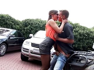 Babe, Car, Clothed Sex, Couple, Fucking, Glamour, Gorgeous, Hardcore, Legs, Nature,